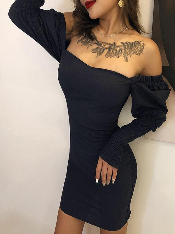 women long sleeve boat neck off the shoulder sexy black bodycon dress