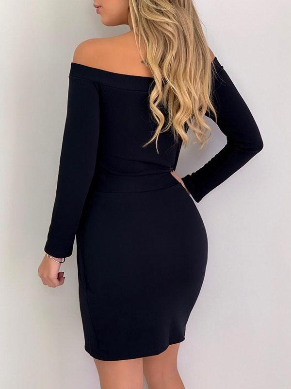 women long sleeve boat neck pleated solid sexy bodycon dress
