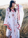 women long sleeve Bohemia style maxi dress