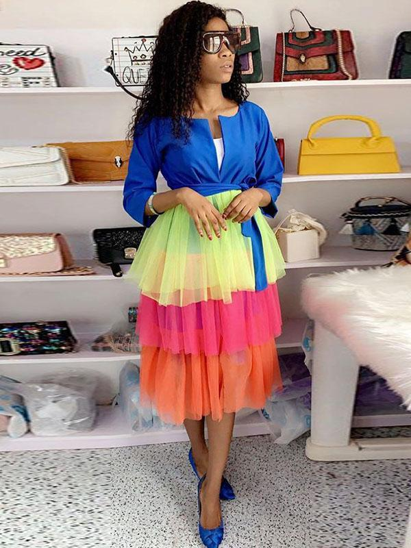 women long sleeve candy color block dress