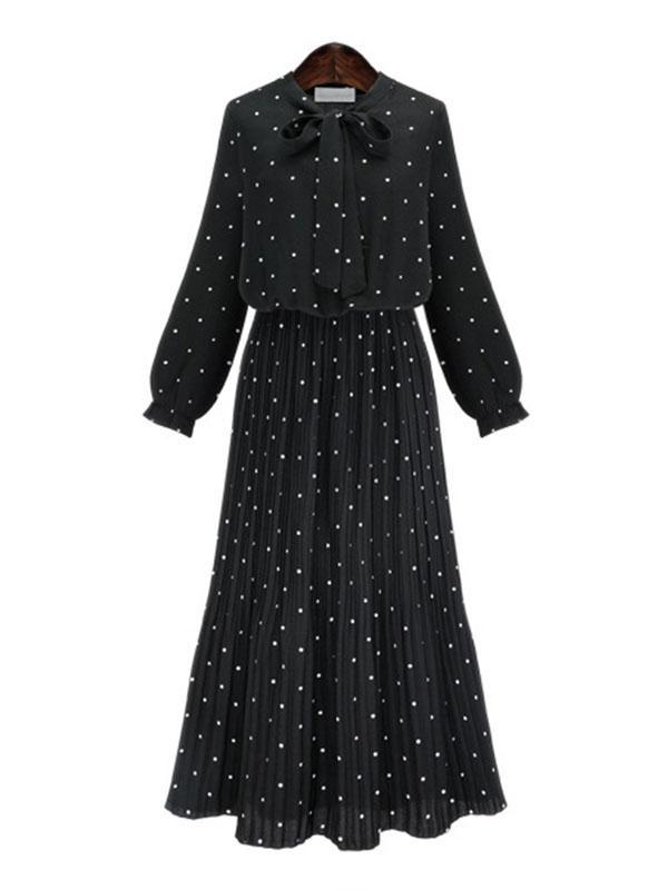 women long sleeve chiffon pleated black long dress