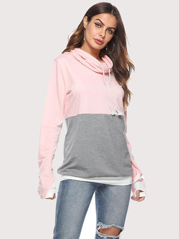 women long sleeve color block drawstring hoodie