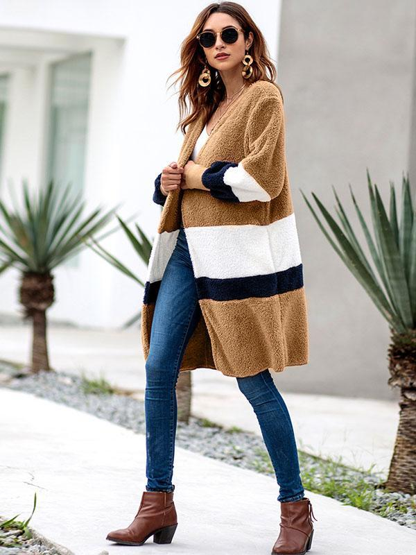 women long sleeve color block long cardigan sweater