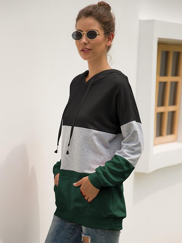 women long sleeve color block sweatshirt