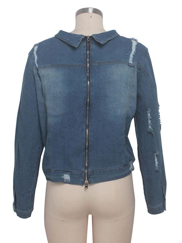 women long sleeve denim coat