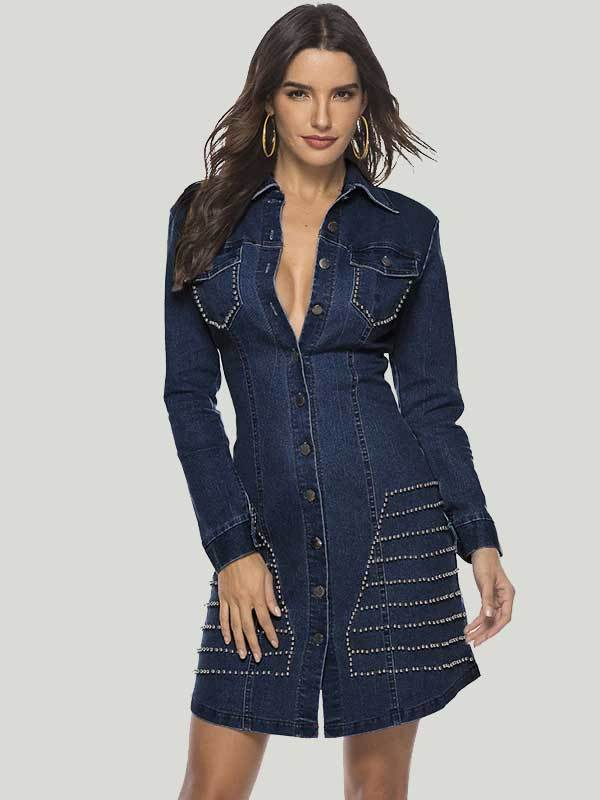 women long sleeve denim sexy bodycon dress