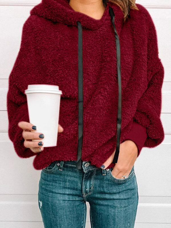 women long sleeve drawstring hoodie sweater coat