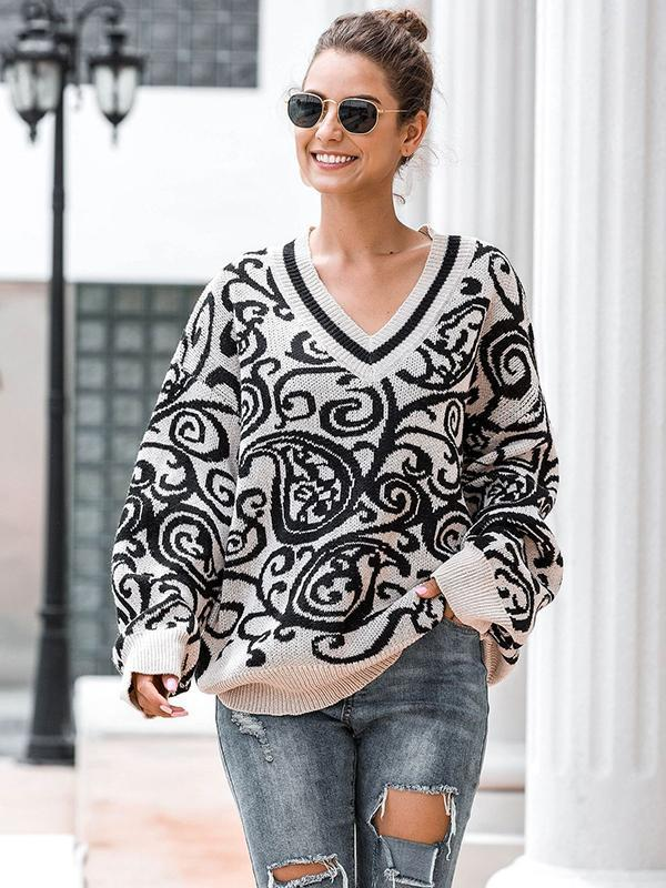 women long sleeve floral knitted pullover sweater