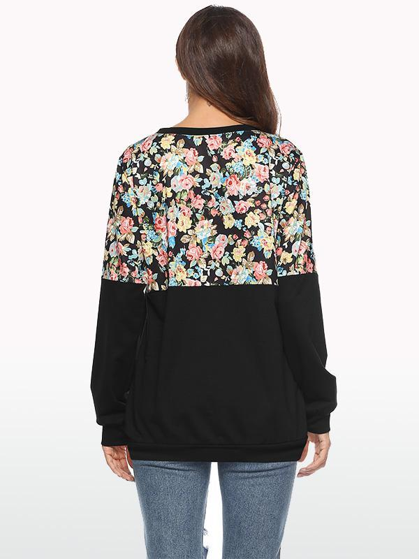 women long sleeve floral print sweatshirt