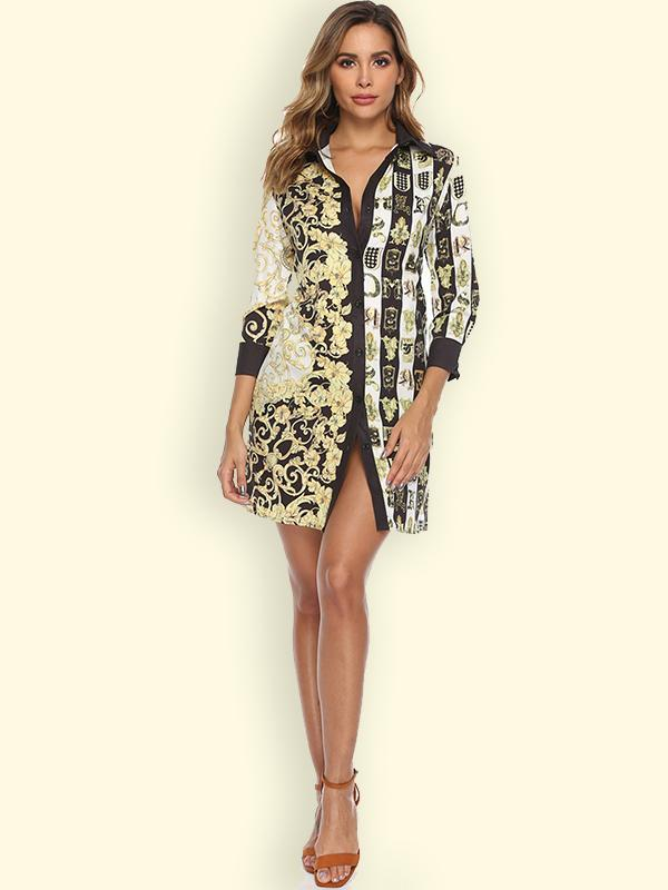women long sleeve floral shirt dress