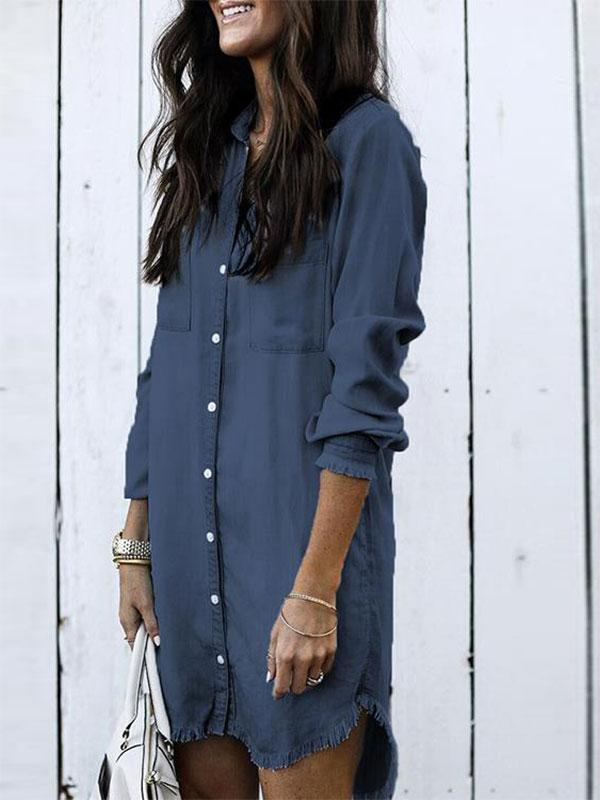 women long sleeve fringed denim shirt dress