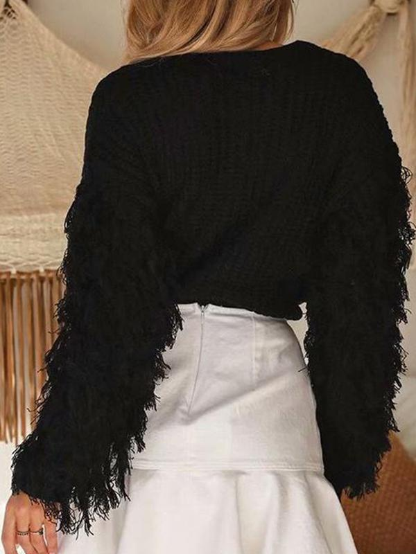 women long sleeve fringed knit top