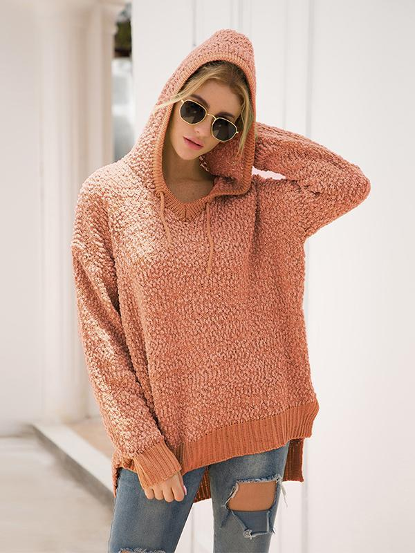 Women Long Sleeve Hooded Loose Pullover Sweater