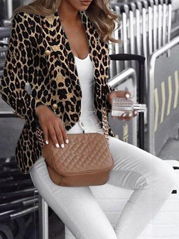 women long sleeve leopard print blazer