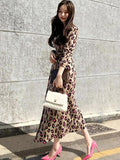 women long sleeve leopard print knit long dress