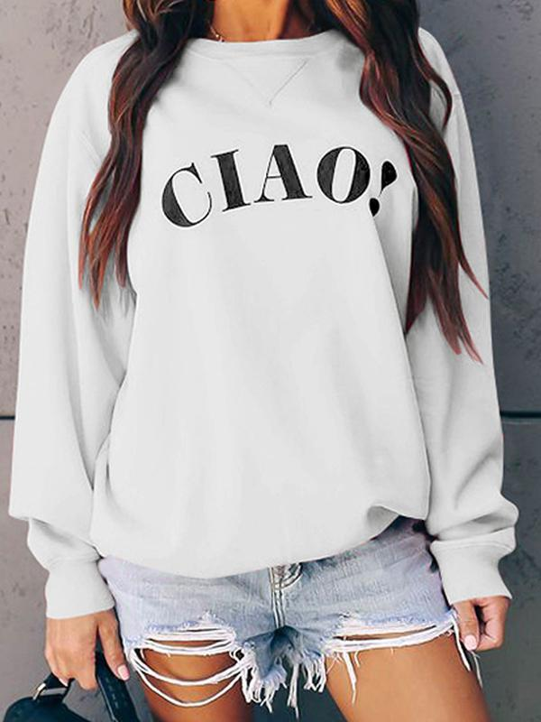 women long sleeve letter print sweatshirt