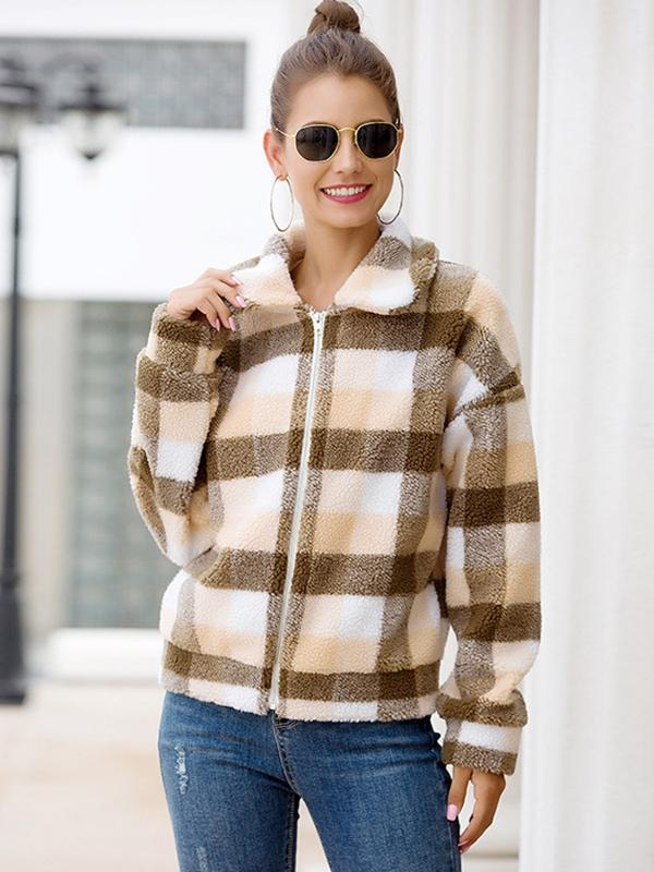 women long sleeve plaid woolen coat
