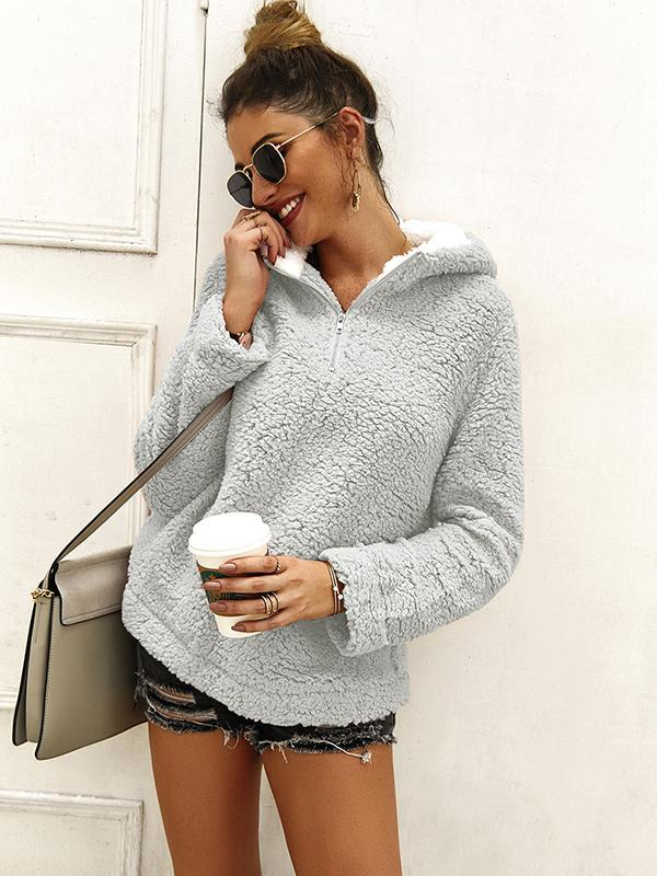 women long sleeve pullover sweater with zipper collar