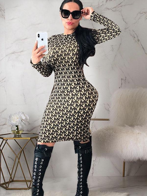 women long sleeve sexy bodycon dress