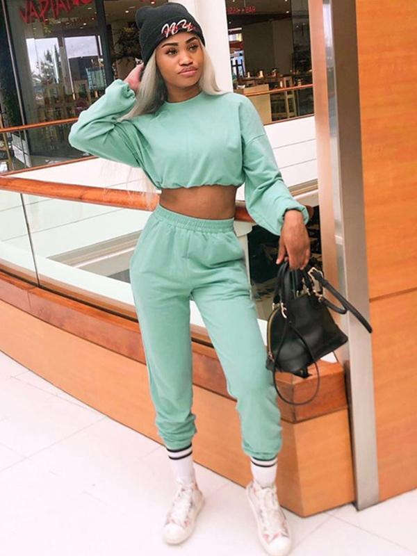 women long sleeve solid crop top & pant sets