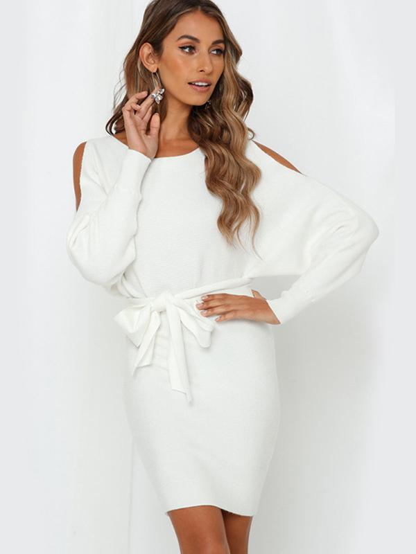 women long sleeve solid off the shoulder sexy bodycon dress with belt