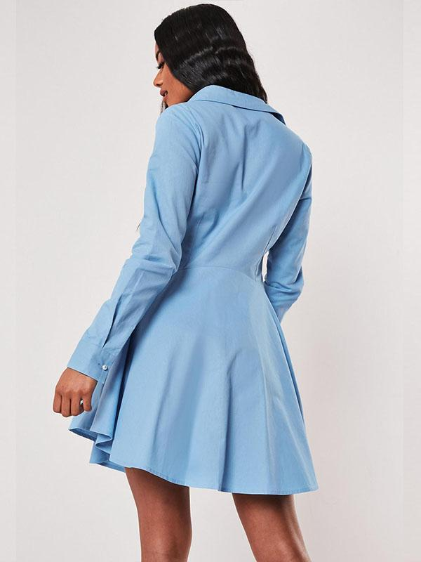 women long sleeve solid single-breasted skate dress