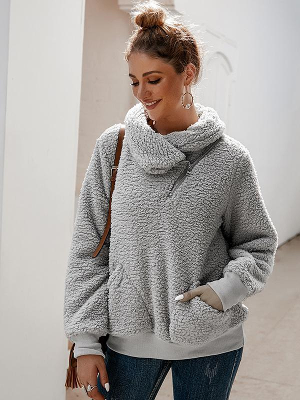 women long sleeve solid Turtleneck pullover Sweater