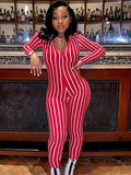 women long sleeve striped jumpsuit