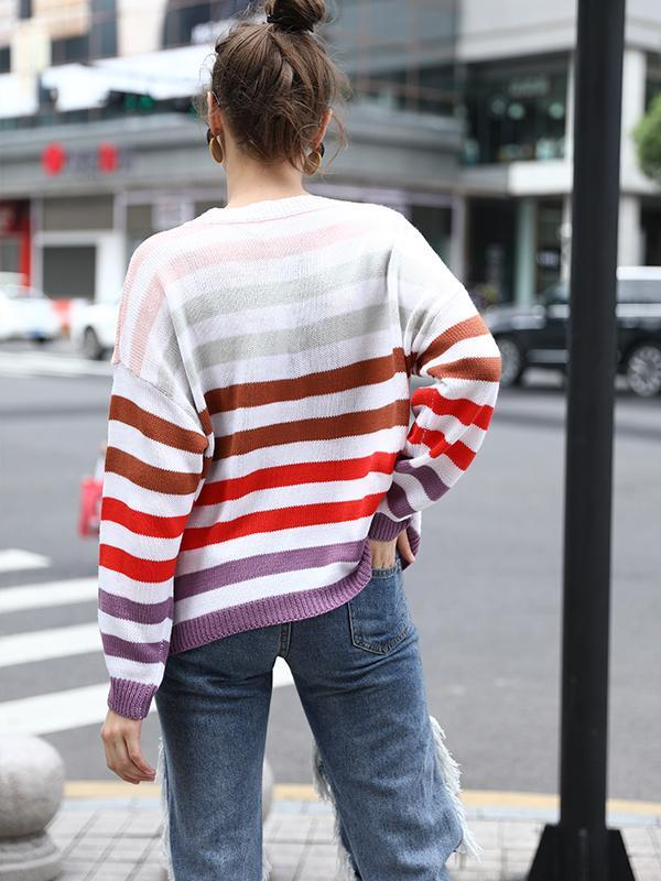 women long sleeve striped pullover knitted sweater