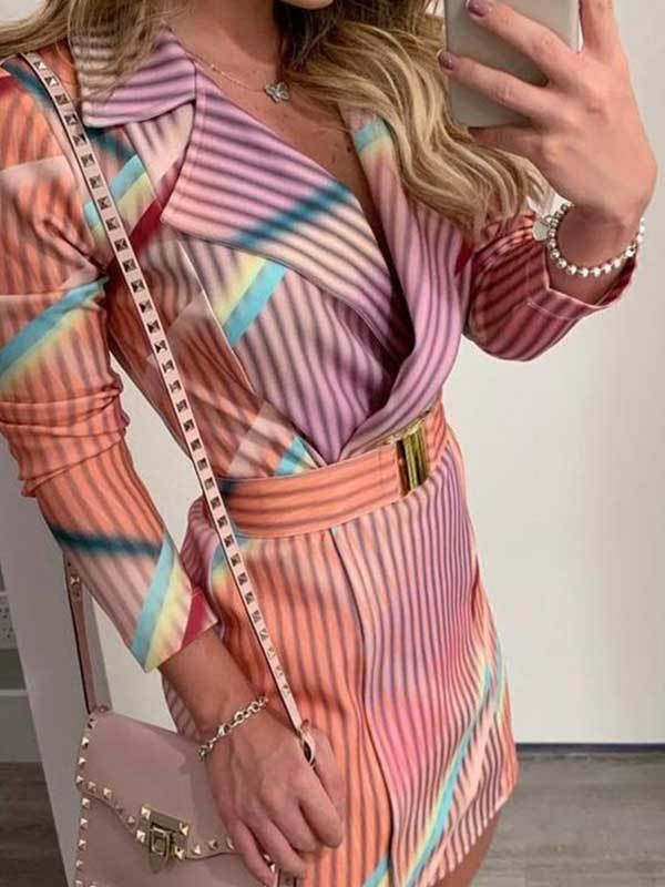 women long sleeve striped shirt dress | suit dress | blazer dress