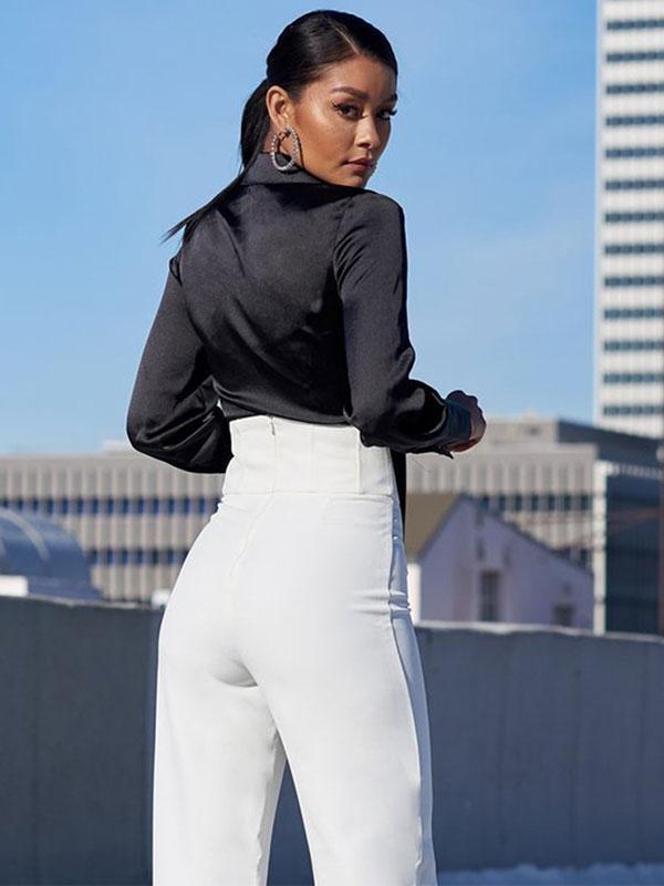 women long sleeve v neck crop top