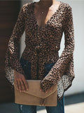 women long sleeve v neck leopard print top