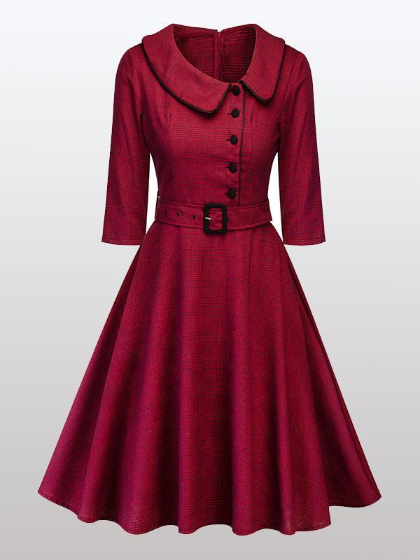 women long sleeve vintage dress
