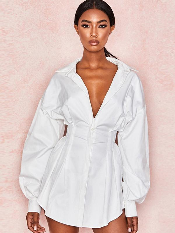 women long sleeve white sexy shirt dress