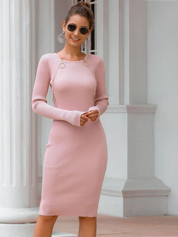 women long sleeve zipper knitted sexy sweater dress | bodycon dress