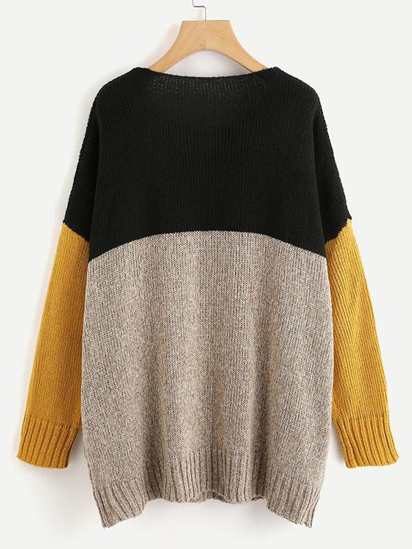 Women loose color block boat neck pullover sweater