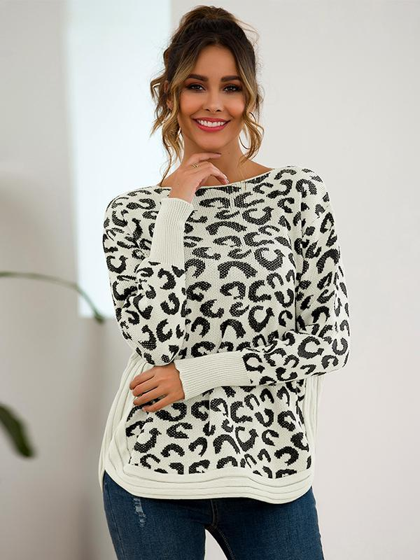 Women Loose Leopard Print Knit Pullover sweater