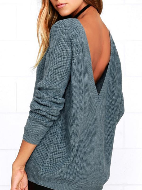 Women Loose Round Neck Backless Long Sleeve Knit Pullover Sweater