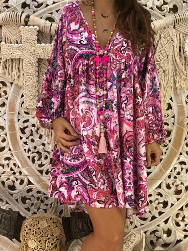 Women Loose Slim V-neck Print Long Sleeve Casual Tribal Dress