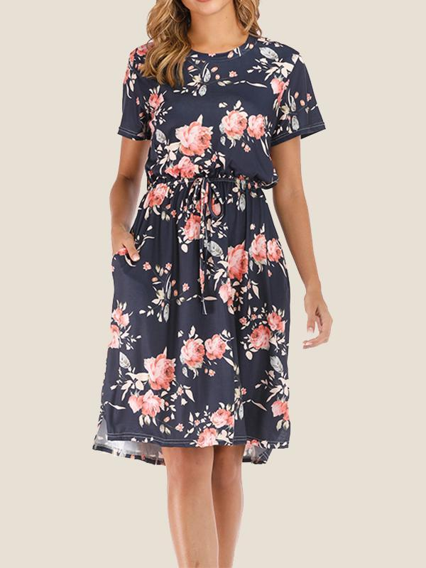 Women New Casual Round Neck Short Sleeve Floral Print Dress