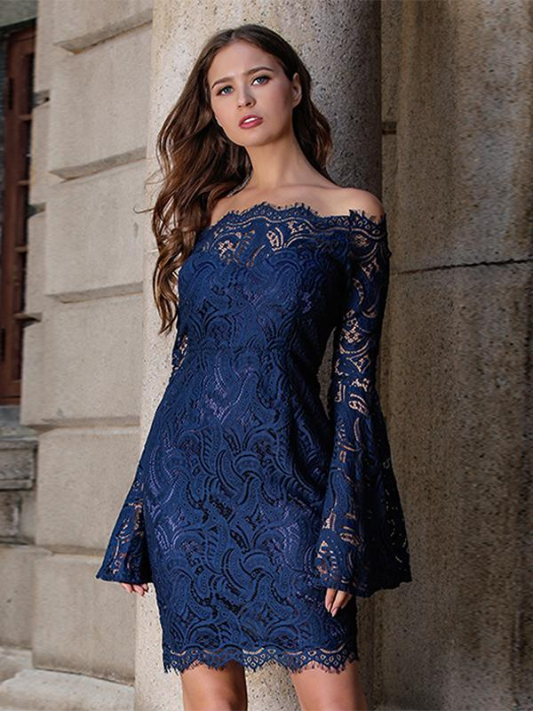 Women New Evening Dress Lace Stitching Off-shoulder Solid Color Dress
