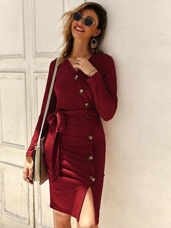 Women New Knitted Bottom Long Sleeve Sexy Dress