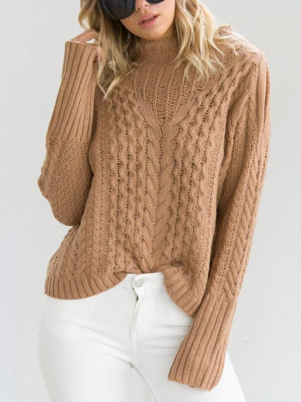 Women off the shoulder cable knit sweater