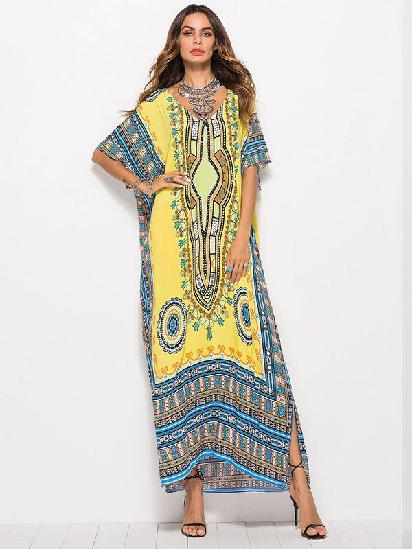 women one size half sleeve long beach dress