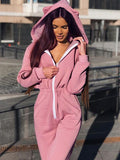 women pink jumpsuit with hoodie