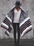 women plaid poncho Pashmina Shawl Wrap Cape Sweater Knitting Cardigan