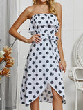 Women Polka Dot Wrapped Chest Ruffle Dress