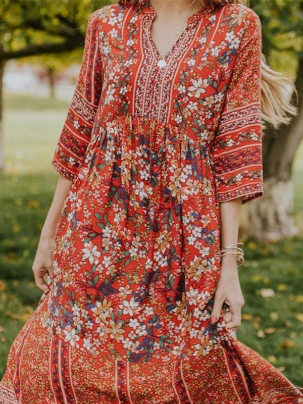 Women Print Retro Bohemian Half Sleeve Maxi Dress