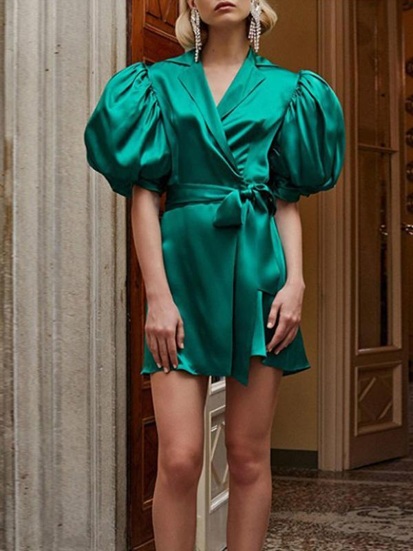 women puff sleeve green shirt dress | mini dress