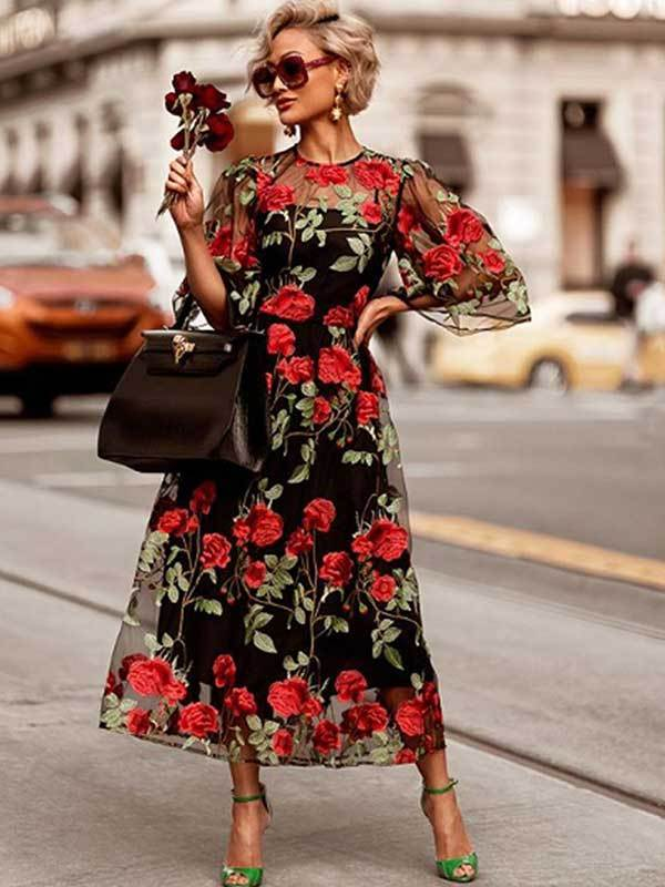 women rose floral lace embroidery long dress